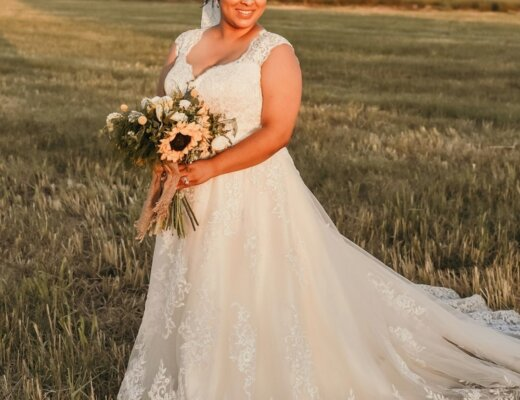 A-line wedding dress curvy bride